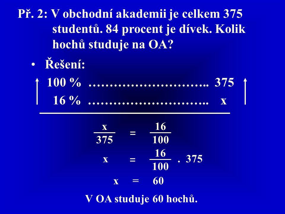 Př. 2: V obchodní akademii je celkem 375 studentů.