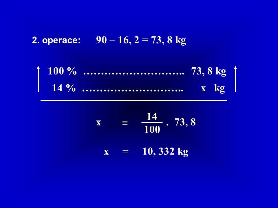 100 % ……………………….. 73, 8 kg 14 % ……………………….. x kg x 14 100 =.