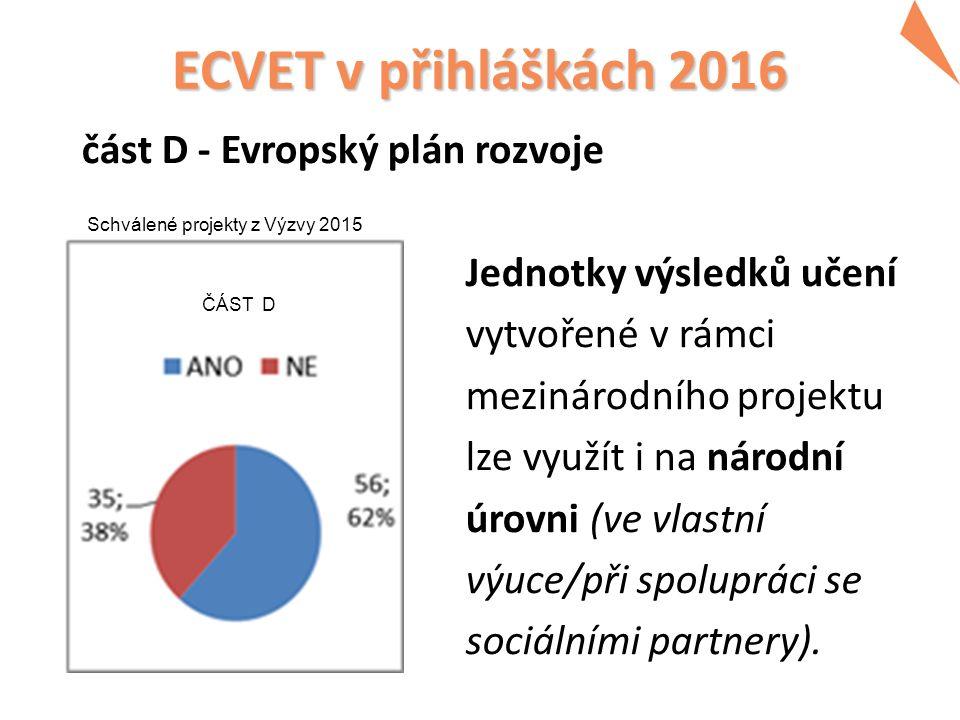 ECVET v přihláškách 2016 část D - Evropský plán rozvoje Jednotky výsledků učení vytvořené v rámci mezinárodního projektu lze využít i na národní úrovni (ve vlastní výuce/při spolupráci se sociálními partnery).