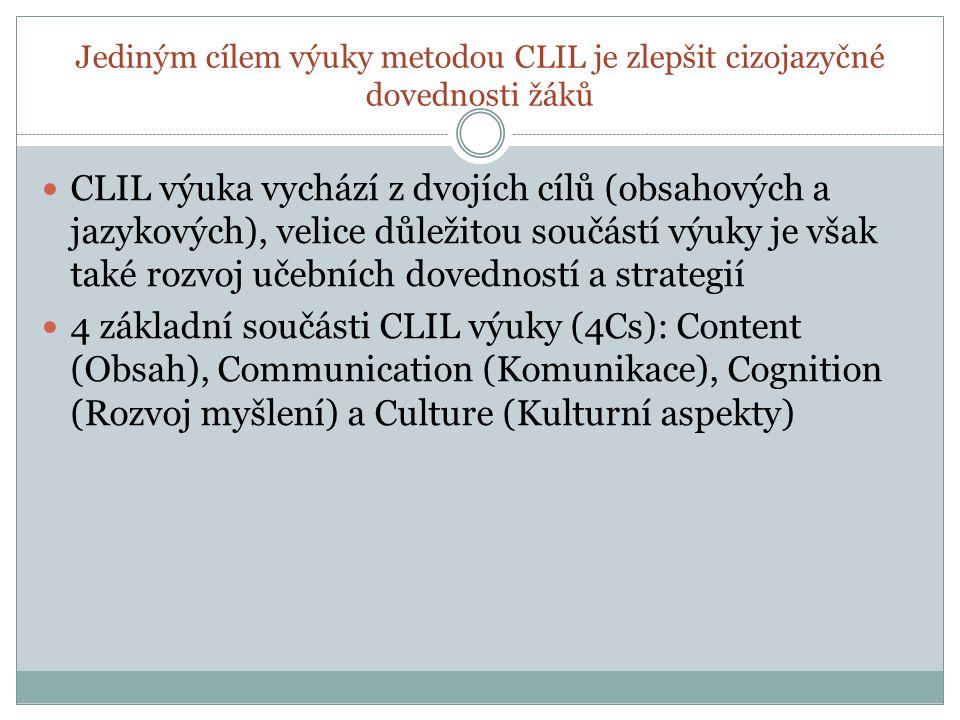 Jediným cílem výuky metodou CLIL je zlepšit cizojazyčné dovednosti žáků CLIL výuka vychází z dvojích cílů (obsahových a jazykových), velice důležitou součástí výuky je však také rozvoj učebních dovedností a strategií 4 základní součásti CLIL výuky (4Cs): Content (Obsah), Communication (Komunikace), Cognition (Rozvoj myšlení) a Culture (Kulturní aspekty)