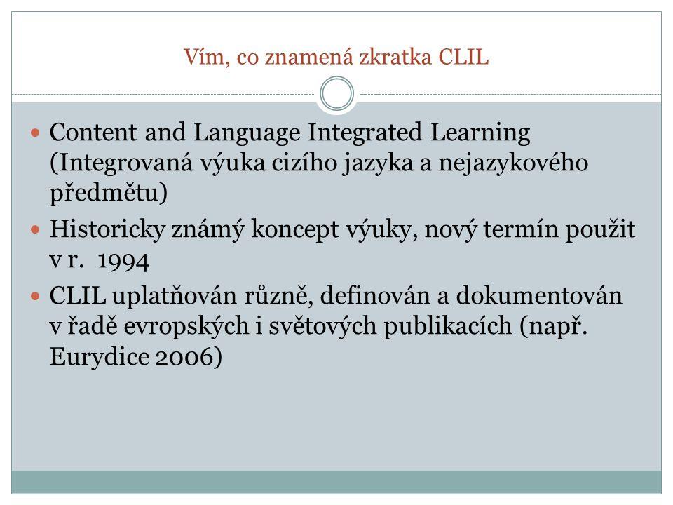 Vím, co znamená zkratka CLIL Content and Language Integrated Learning (Integrovaná výuka cizího jazyka a nejazykového předmětu) Historicky známý koncept výuky, nový termín použit v r.