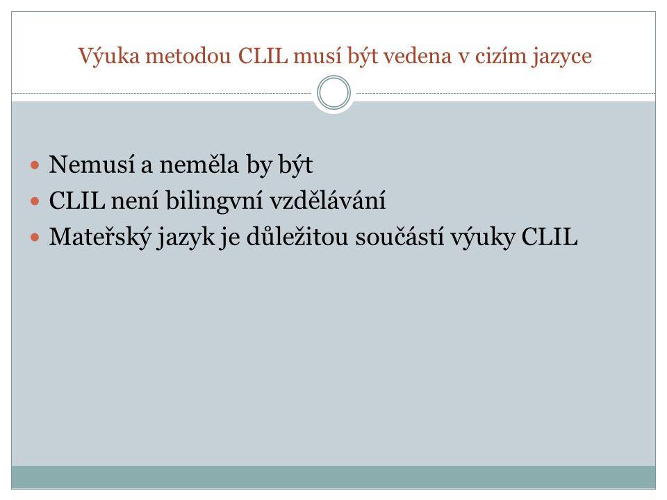 U výuky metodou CLIL je přesně stanoveno, kolik procent výuky je vedeno v mateřském jazyce a kolik v cizím Uplatnění metody CLIL vychází vždy z lokálního kontextu Výzkumy ukazují, že efektivita výuky jazyka i předmětu stoupá, pokud se cizí jazyk využívá alespoň ve 25% celkového objemu výuky (Pavesi a kol.