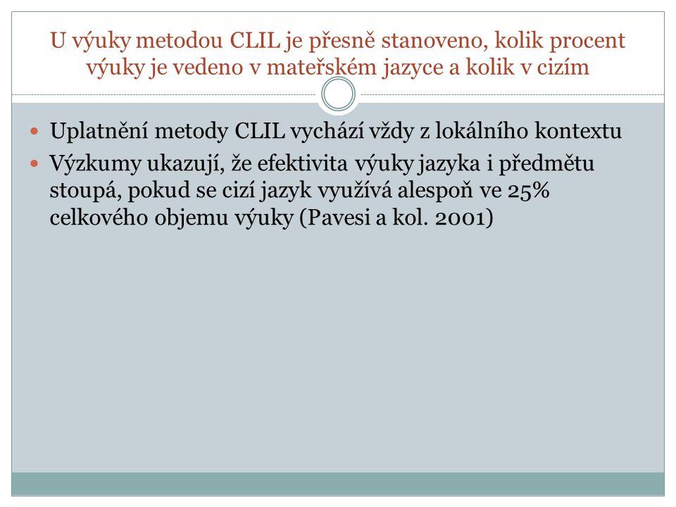U výuky metodou CLIL je přesně stanoveno, kolik procent výuky je vedeno v mateřském jazyce a kolik v cizím Uplatnění metody CLIL vychází vždy z lokáln
