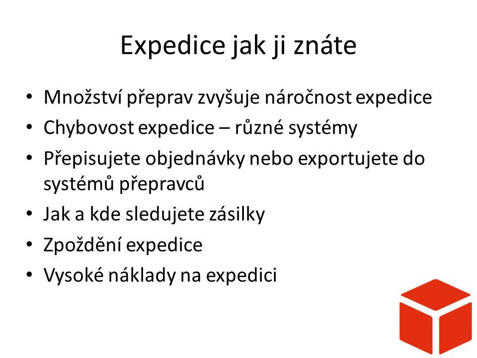 Expedice jak ji znáte Množství přeprav zvyšuje náročnost expedice Chybovost expedice – různé systémy Přepisujete objednávky nebo exportujete do systémů přepravců Jak a kde sledujete zásilky Zpoždění expedice Vysoké náklady na expedici