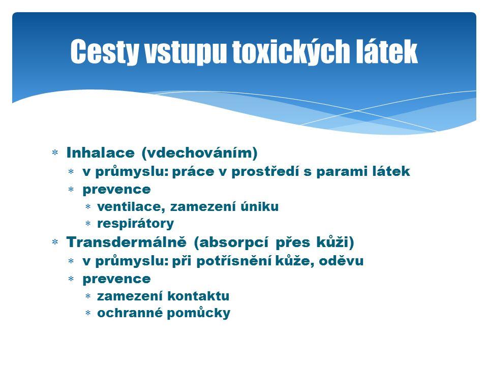  Inhalace (vdechováním)  v průmyslu: práce v prostředí s parami látek  prevence  ventilace, zamezení úniku  respirátory  Transdermálně (absorpcí