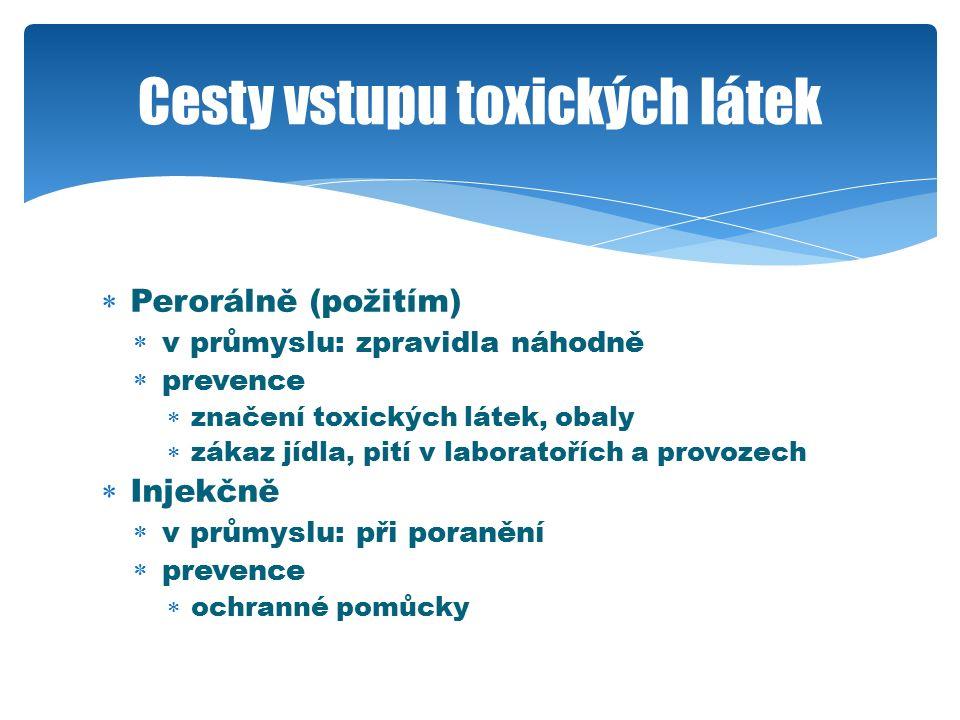  Perorálně (požitím)  v průmyslu: zpravidla náhodně  prevence  značení toxických látek, obaly  zákaz jídla, pití v laboratořích a provozech  Injekčně  v průmyslu: při poranění  prevence  ochranné pomůcky Cesty vstupu toxických látek