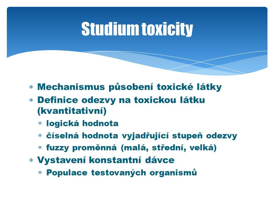  Mechanismus působení toxické látky  Definice odezvy na toxickou látku (kvantitativní)  logická hodnota  číselná hodnota vyjadřující stupeň odezvy  fuzzy proměnná (malá, střední, velká)  Vystavení konstantní dávce  Populace testovaných organismů Studium toxicity