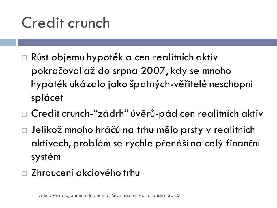 Credit crunch  Růst objemu hypoték a cen realitních aktiv pokračoval až do srpna 2007, kdy se mnoho hypoték ukázalo jako špatných-věřitelé neschopni splácet  Credit crunch- zádrh úvěrů-pád cen realitních aktiv  Jelikož mnoho hráčů na trhu mělo prsty v realitních aktivech, problém se rychle přenáší na celý finanční systém  Zhroucení akciového trhu Jakub Matějů, Seminář Ekonomie, Gymnázium Voděradská, 2010
