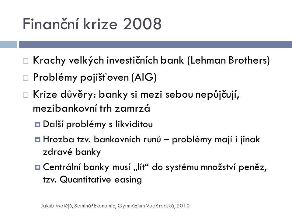 Finanční krize 2008  Krachy velkých investičních bank (Lehman Brothers)  Problémy pojišťoven (AIG)  Krize důvěry: banky si mezi sebou nepůjčují, mezibankovní trh zamrzá  Další problémy s likviditou  Hrozba tzv.