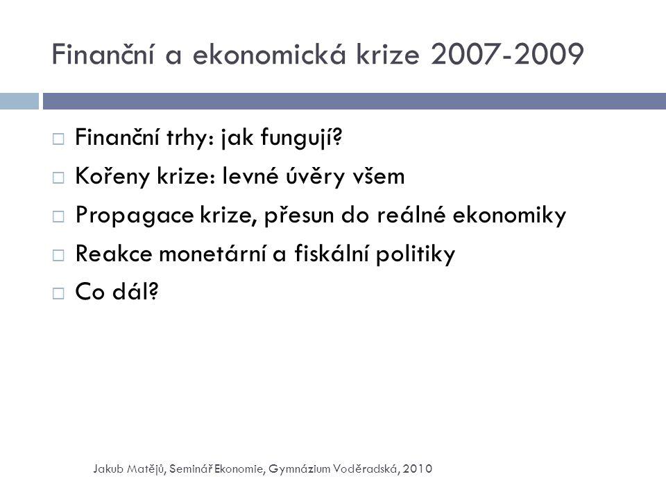 Finanční a ekonomická krize 2007-2009  Finanční trhy: jak fungují.