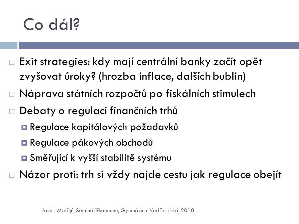 Co dál.  Exit strategies: kdy mají centrální banky začít opět zvyšovat úroky.