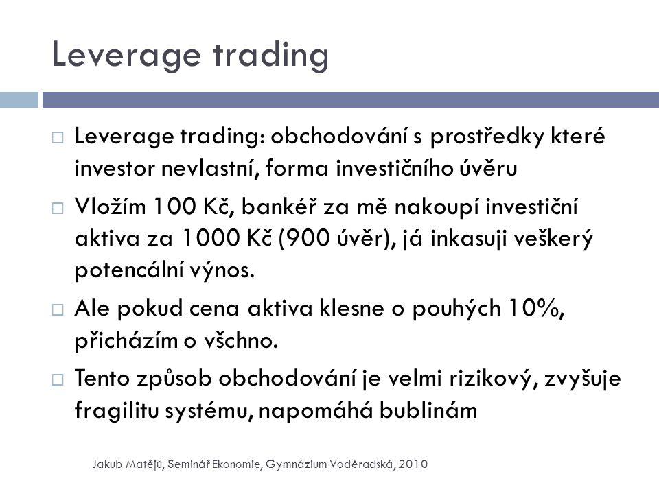 Leverage trading  Leverage trading: obchodování s prostředky které investor nevlastní, forma investičního úvěru  Vložím 100 Kč, bankéř za mě nakoupí investiční aktiva za 1000 Kč (900 úvěr), já inkasuji veškerý potencální výnos.