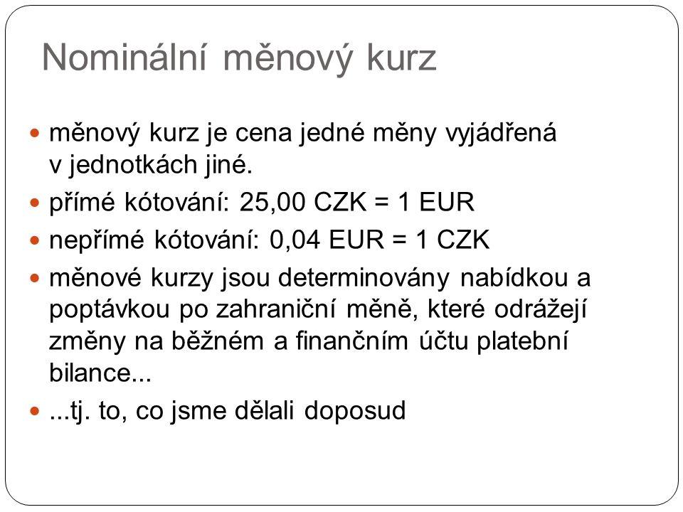měnový kurz je cena jedné měny vyjádřená v jednotkách jiné.