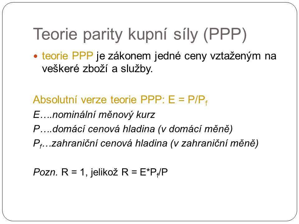 Teorie parity kupní síly (PPP) teorie PPP je zákonem jedné ceny vztaženým na veškeré zboží a služby.