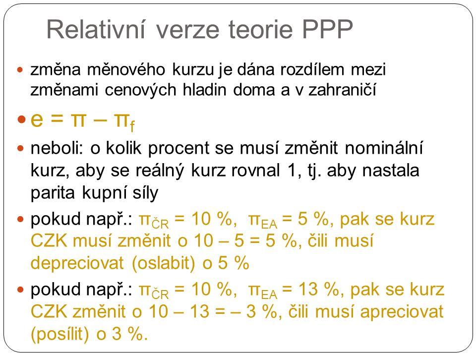 Relativní verze teorie PPP změna měnového kurzu je dána rozdílem mezi změnami cenových hladin doma a v zahraničí e = π – π f neboli: o kolik procent se musí změnit nominální kurz, aby se reálný kurz rovnal 1, tj.