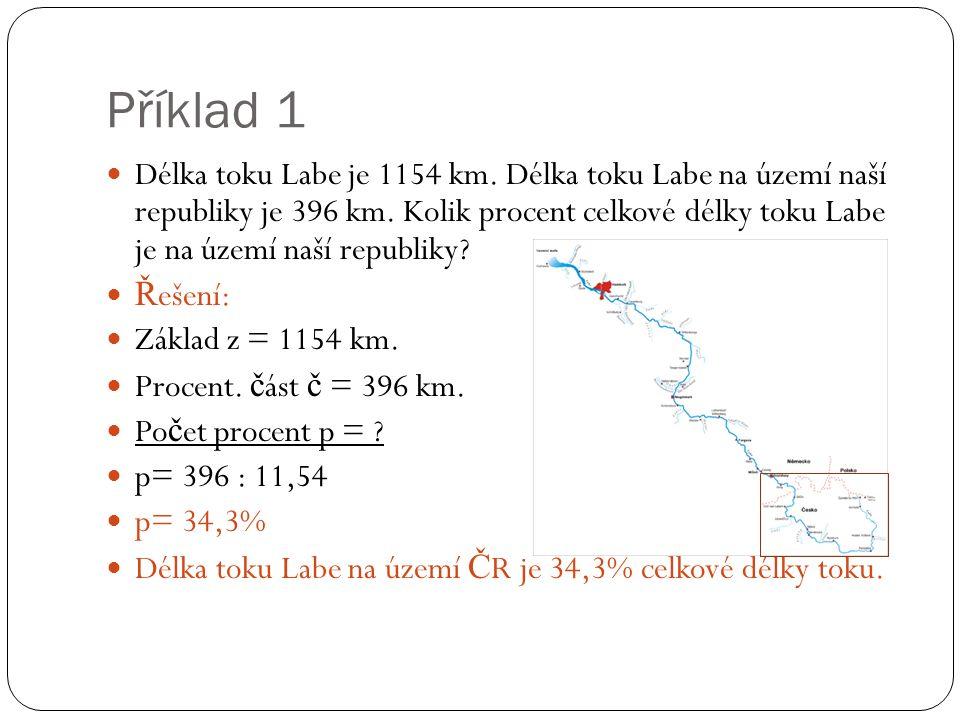 Příklad 1 Délka toku Labe je 1154 km. Délka toku Labe na území naší republiky je 396 km. Kolik procent celkové délky toku Labe je na území naší republ