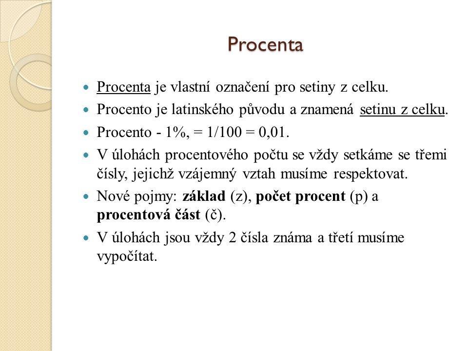 Procenta Procenta je vlastní označení pro setiny z celku.