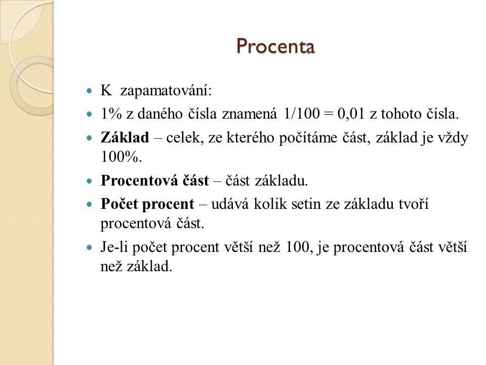 Procenta Procenta je vlastní označení pro setiny z celku. Procento je latinského původu a znamená setinu z celku. Procento - 1%, = 1/100 = 0,01. V úlo