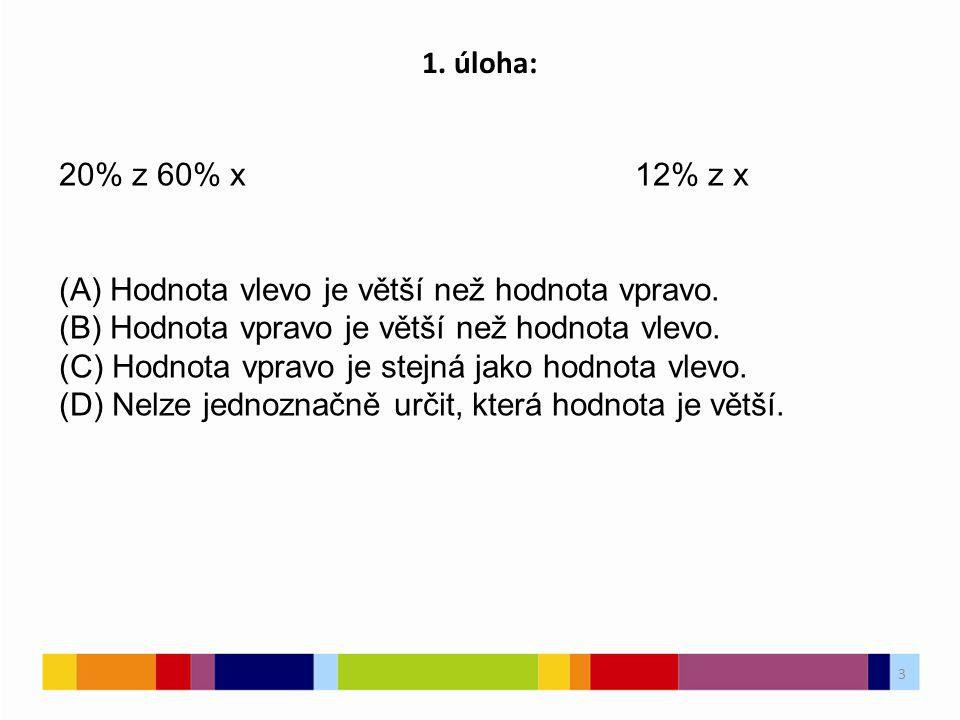3 1. úloha: 20% z 60% x12% z x (A) Hodnota vlevo je větší než hodnota vpravo. (B) Hodnota vpravo je větší než hodnota vlevo. (C) Hodnota vpravo je ste