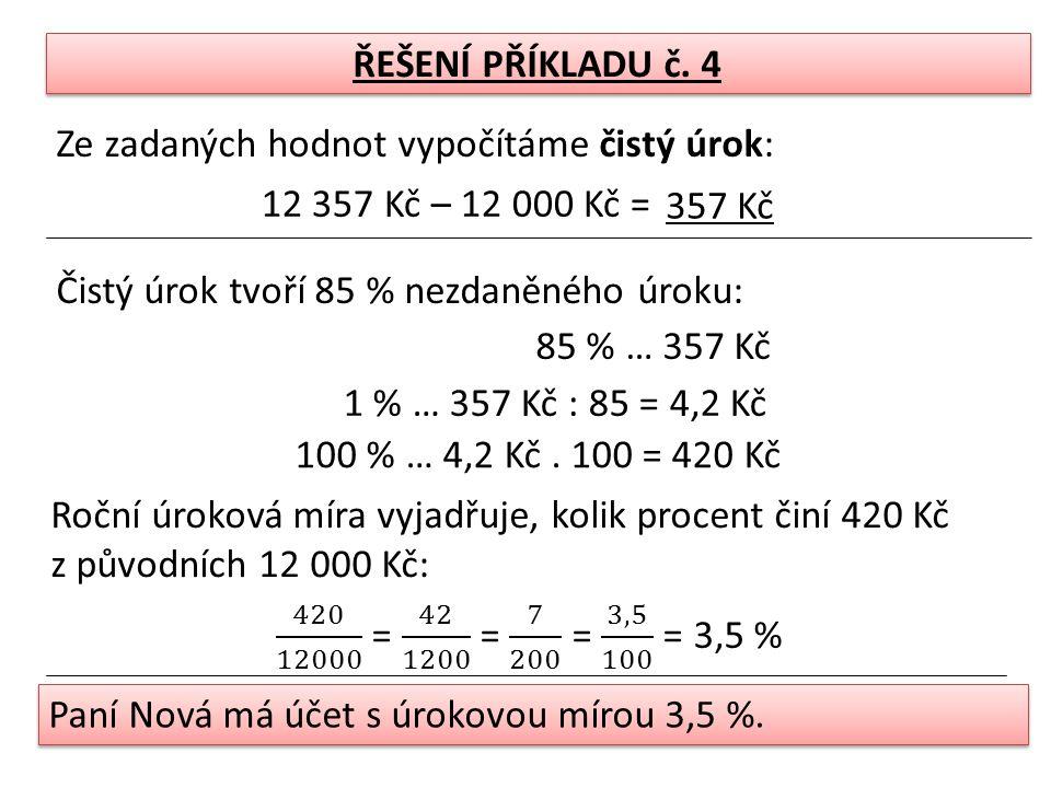 ŘEŠENÍ PŘÍKLADU č.