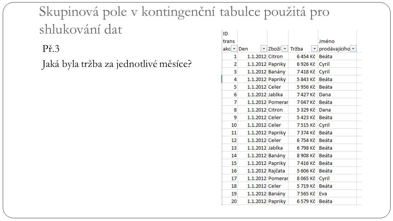 Skupinová pole v kontingenční tabulce použitá pro shlukování dat Př.3 Jaká byla tržba za jednotlivé měsíce