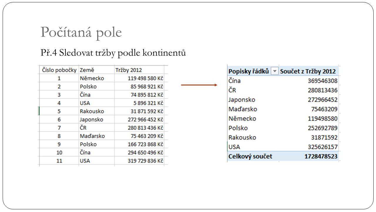 Počítaná pole Př.4 Sledovat tržby podle kontinentů