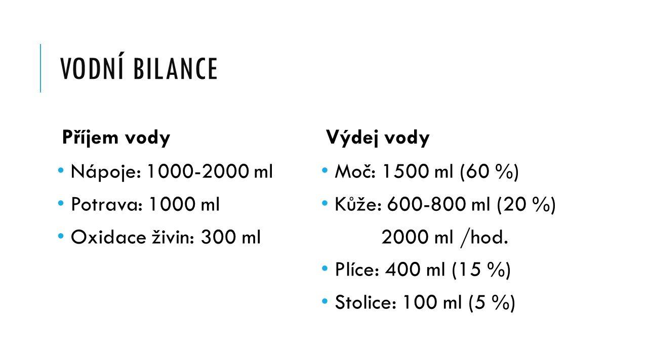 VODNÍ BILANCE Příjem vody Nápoje: 1000-2000 ml Potrava: 1000 ml Oxidace živin: 300 ml Výdej vody Moč: 1500 ml (60 %) Kůže: 600-800 ml (20 %) 2000 ml /hod.