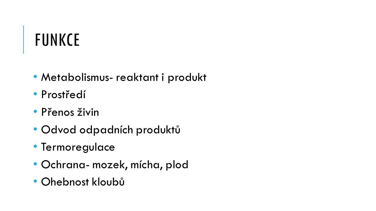 FUNKCE Metabolismus- reaktant i produkt Prostředí Přenos živin Odvod odpadních produktů Termoregulace Ochrana- mozek, mícha, plod Ohebnost kloubů