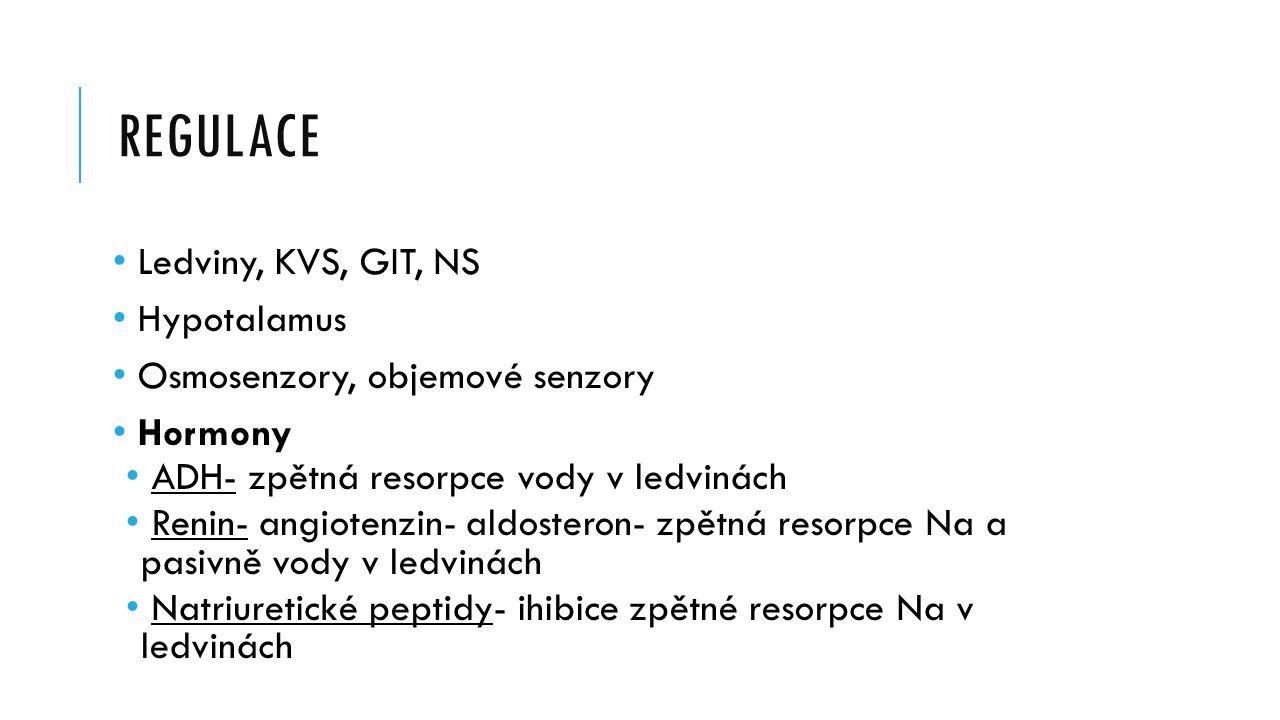 REGULACE Ledviny, KVS, GIT, NS Hypotalamus Osmosenzory, objemové senzory Hormony ADH- zpětná resorpce vody v ledvinách Renin- angiotenzin- aldosteron- zpětná resorpce Na a pasivně vody v ledvinách Natriuretické peptidy- ihibice zpětné resorpce Na v ledvinách