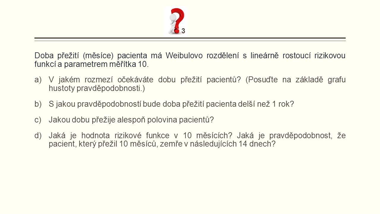 Doba přežití (měsíce) pacienta má Weibulovo rozdělení s lineárně rostoucí rizikovou funkcí a parametrem měřítka 10.