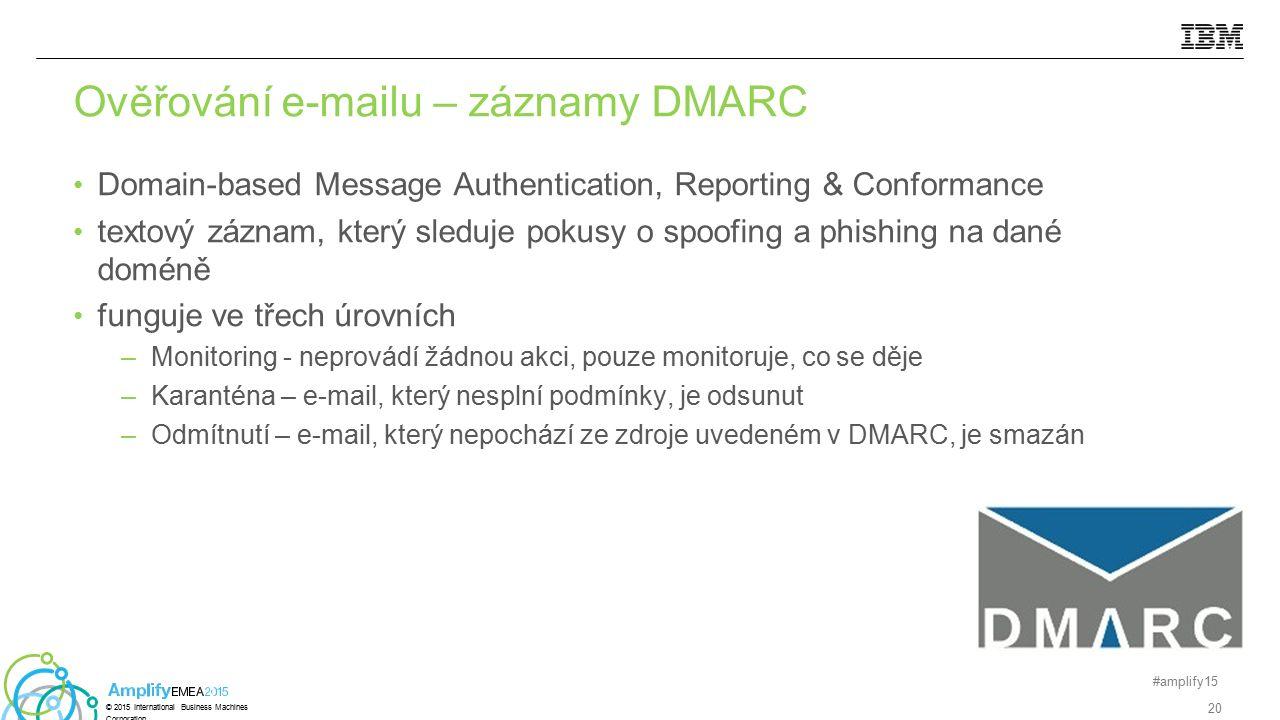 Domain-based Message Authentication, Reporting & Conformance textový záznam, který sleduje pokusy o spoofing a phishing na dané doméně funguje ve třec