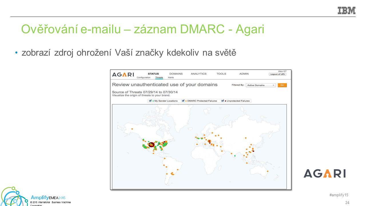 zobrazí zdroj ohrožení Vaší značky kdekoliv na světě Ověřování e-mailu – záznam DMARC - Agari #amplify15 24 © 2015 International Business Machines Cor