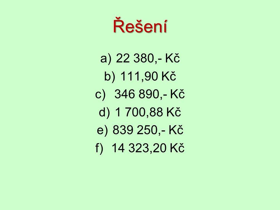 Řešení a)22 380,- Kč b)111,90 Kč c) 346 890,- Kč d)1 700,88 Kč e)839 250,- Kč f)14 323,20 Kč