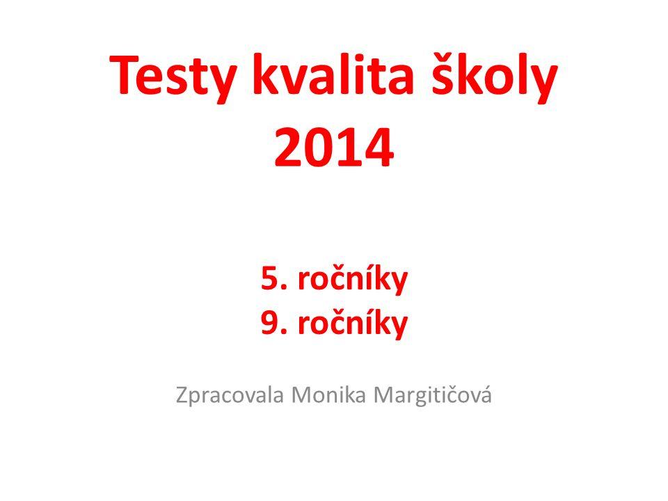Testy kvalita školy 2014 5. ročníky 9. ročníky Zpracovala Monika Margitičová