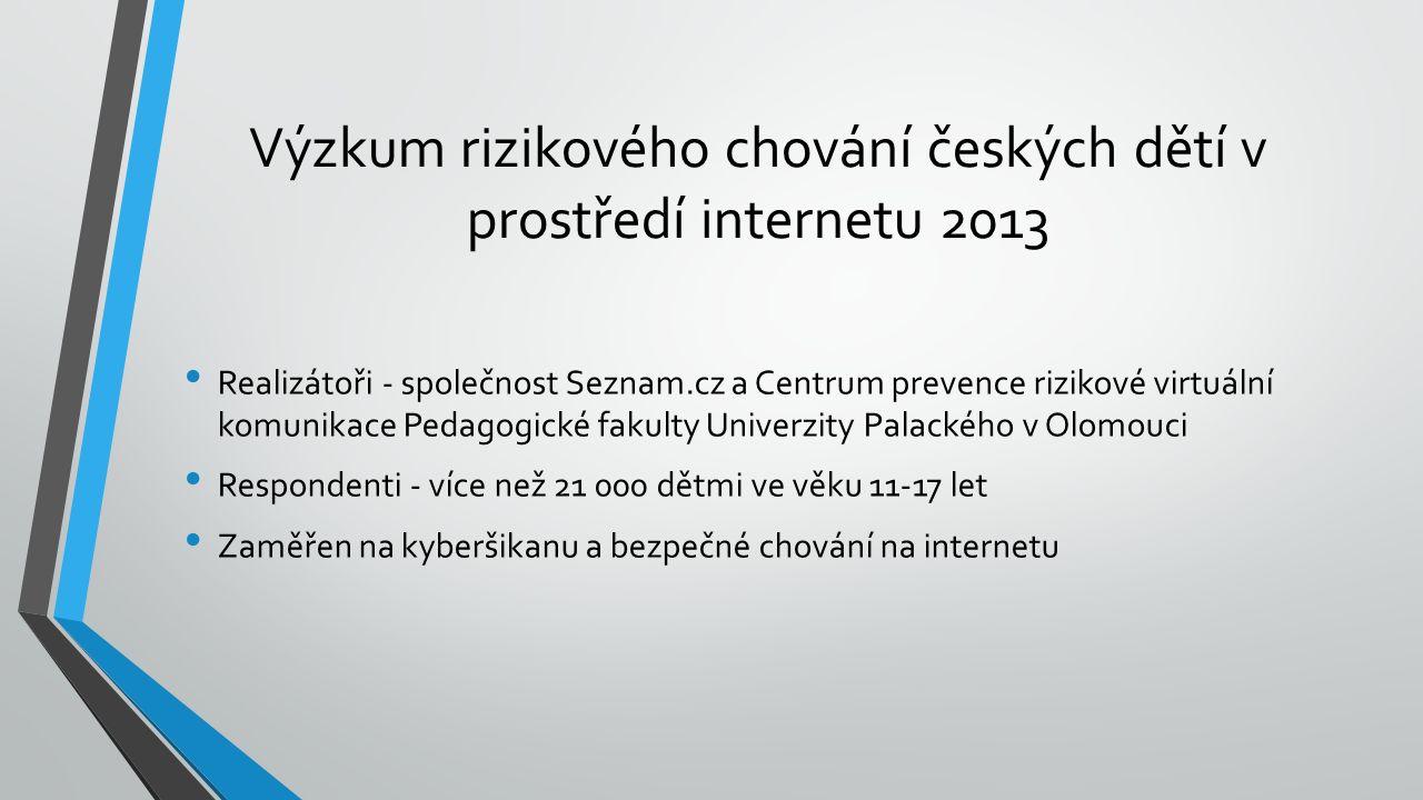 Výzkum rizikového chování českých dětí v prostředí internetu 2013 Realizátoři - společnost Seznam.cz a Centrum prevence rizikové virtuální komunikace Pedagogické fakulty Univerzity Palackého v Olomouci Respondenti - více než 21 000 dětmi ve věku 11-17 let Zaměřen na kyberšikanu a bezpečné chování na internetu