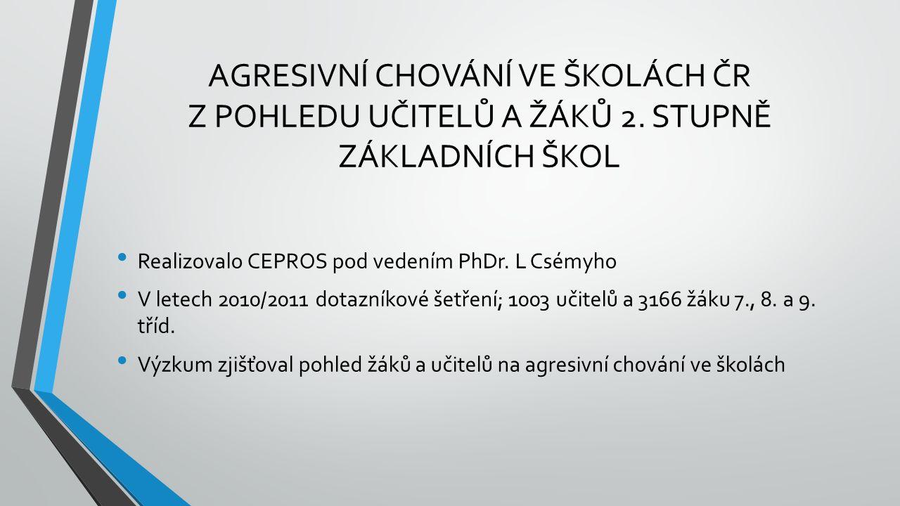 AGRESIVNÍ CHOVÁNÍ VE ŠKOLÁCH ČR Z POHLEDU UČITELŮ A ŽÁKŮ 2.