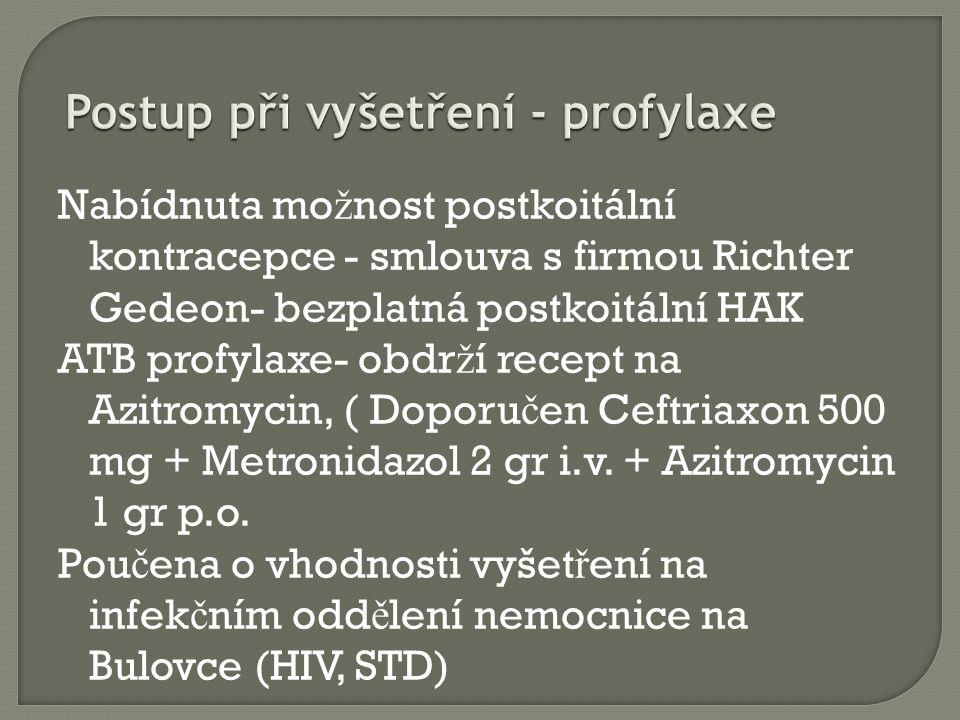 Nabídnuta mo ž nost postkoitální kontracepce - smlouva s firmou Richter Gedeon- bezplatná postkoitální HAK ATB profylaxe- obdr ž í recept na Azitromycin, ( Doporu č en Ceftriaxon 500 mg + Metronidazol 2 gr i.v.