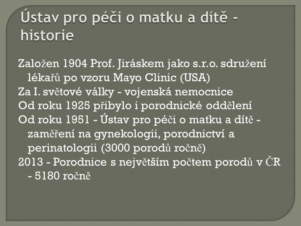 Zalo ž en 1904 Prof. Jiráskem jako s.r.o. sdru ž ení léka řů po vzoru Mayo Clinic (USA) Za I.