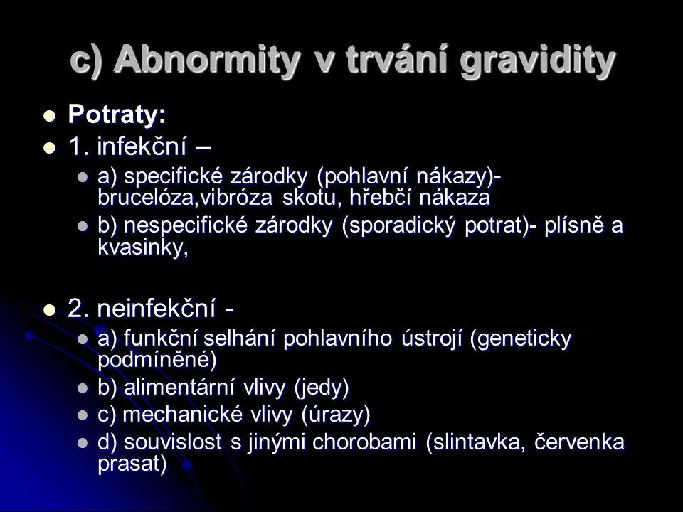 c) Abnormity v trvání gravidity Potraty: Potraty: 1.