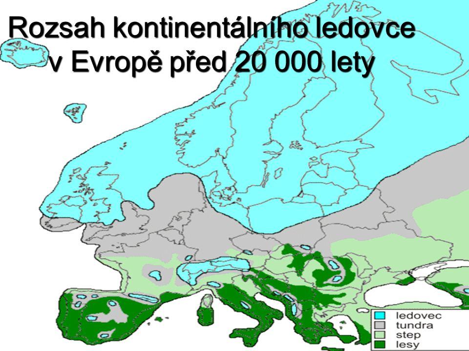 Rozsah kontinentálního ledovce v Evropě před 20 000 lety