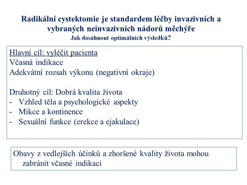 Radikální cystektomie je standardem léčby invazivních a vybraných neinvazivních nádorů měchýře Jak dosáhnout optimálních výsledků ? Hlavní cíl: vyléči
