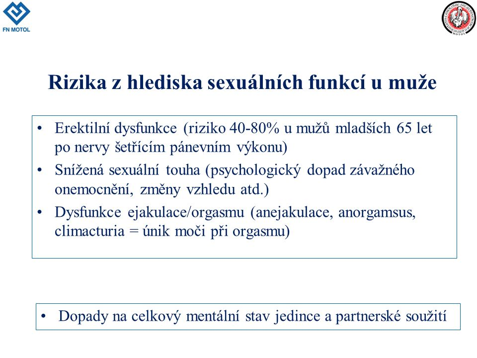 Erektilní dysfunkce (riziko 40-80% u mužů mladších 65 let po nervy šetřícím pánevním výkonu) Snížená sexuální touha (psychologický dopad závažného onemocnění, změny vzhledu atd.) Dysfunkce ejakulace/orgasmu (anejakulace, anorgamsus, climacturia = únik moči při orgasmu) Rizika z hlediska sexuálních funkcí u muže Dopady na celkový mentální stav jedince a partnerské soužití