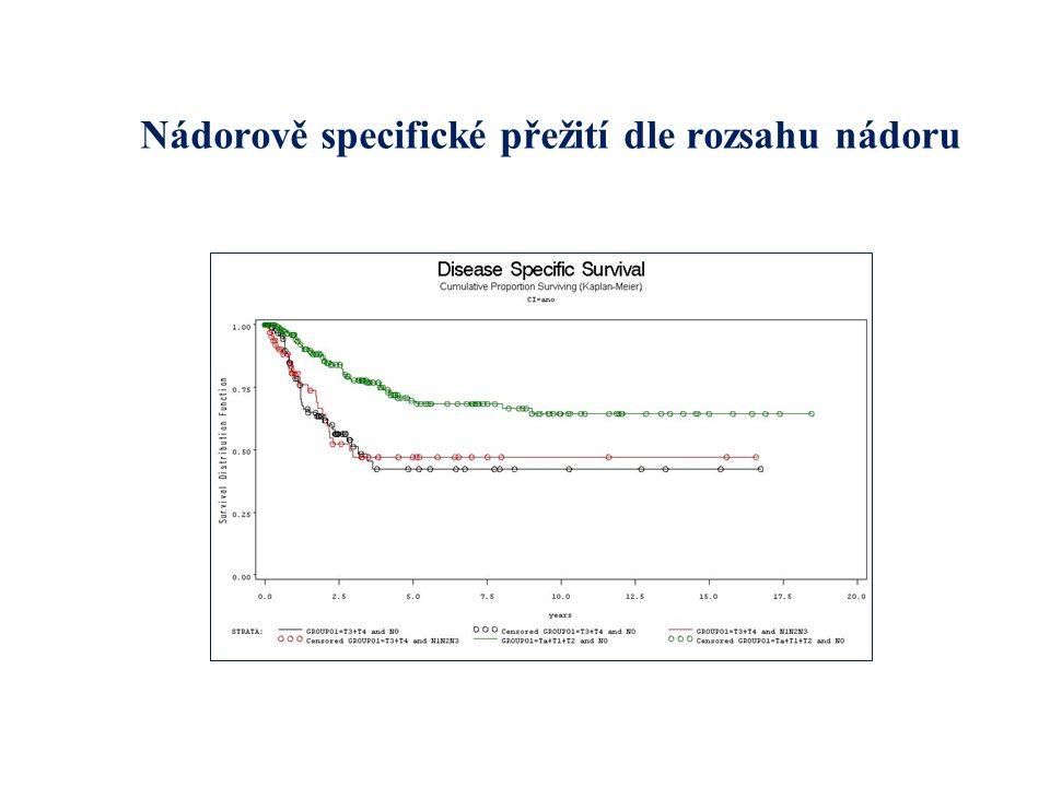 Nádorově specifické přežití dle rozsahu nádoru
