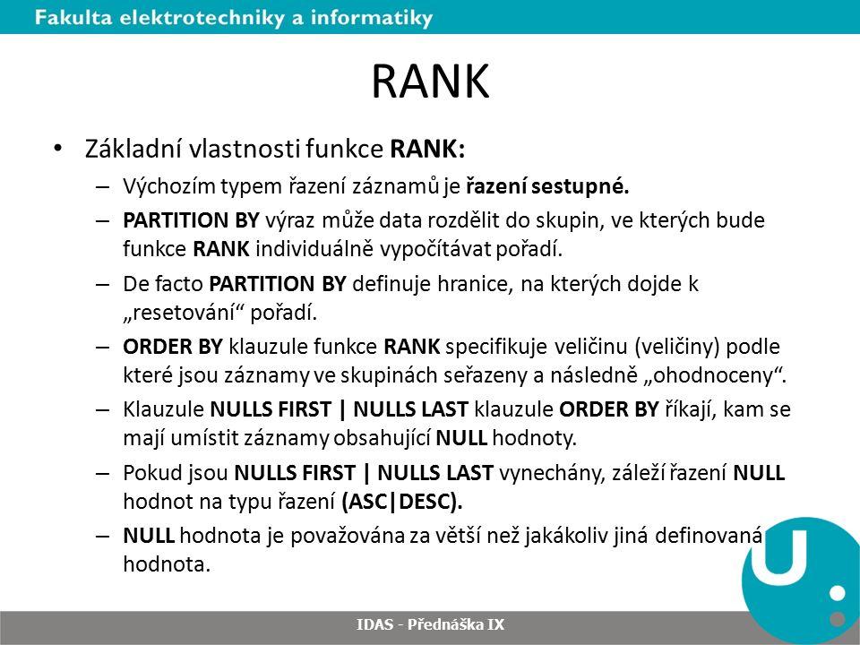 RANK Základní vlastnosti funkce RANK: – Výchozím typem řazení záznamů je řazení sestupné.