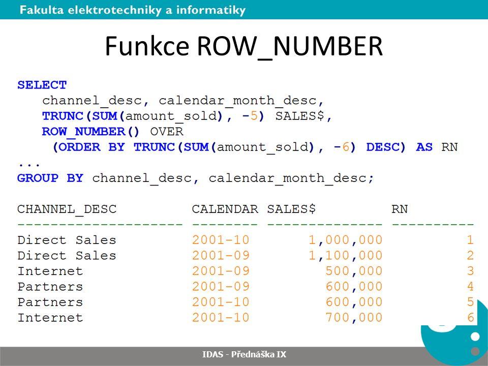 Funkce ROW_NUMBER IDAS - Přednáška IX