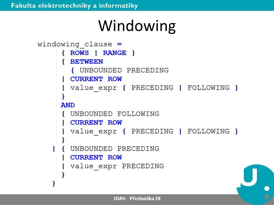 Windowing IDAS - Přednáška IX
