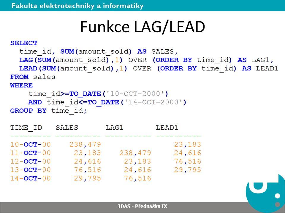 Funkce LAG/LEAD IDAS - Přednáška IX
