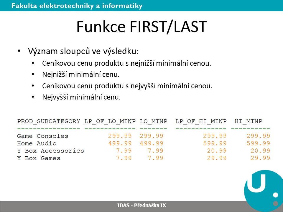 Funkce FIRST/LAST IDAS - Přednáška IX Význam sloupců ve výsledku: Ceníkovou cenu produktu s nejnižší minimální cenou.