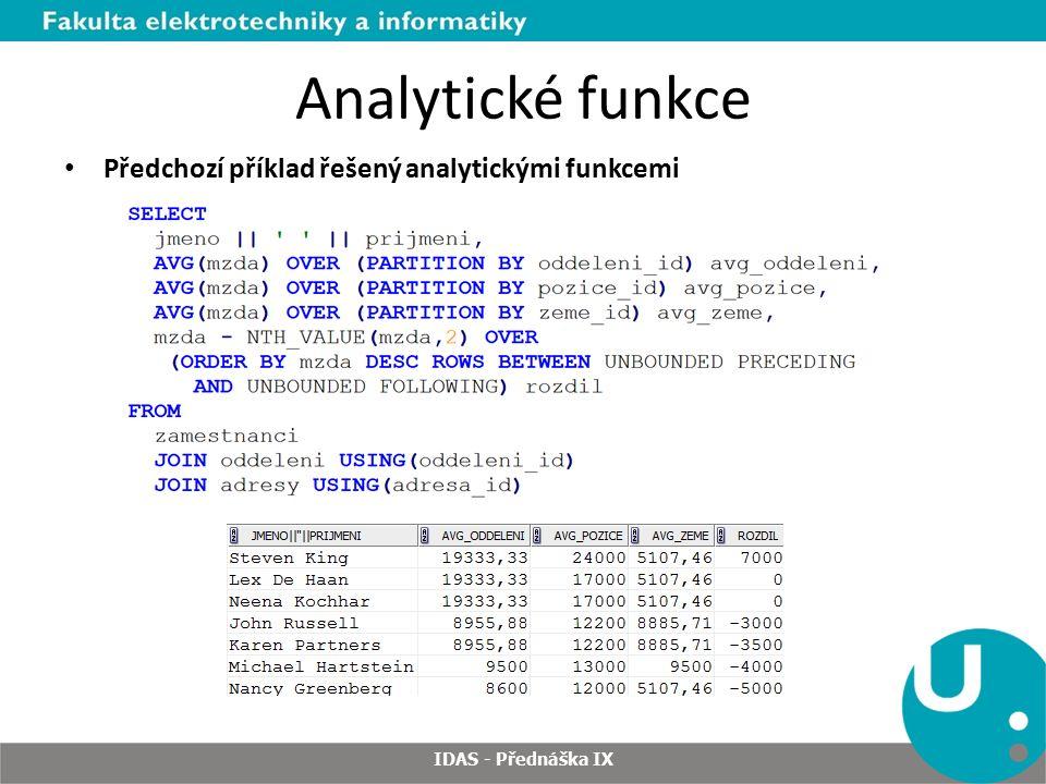 Analytické funkce Předchozí příklad řešený analytickými funkcemi IDAS - Přednáška IX