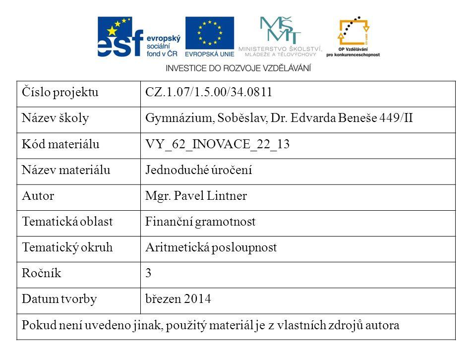 Číslo projektuCZ.1.07/1.5.00/34.0811 Název školyGymnázium, Soběslav, Dr. Edvarda Beneše 449/II Kód materiáluVY_62_INOVACE_22_13 Název materiáluJednodu